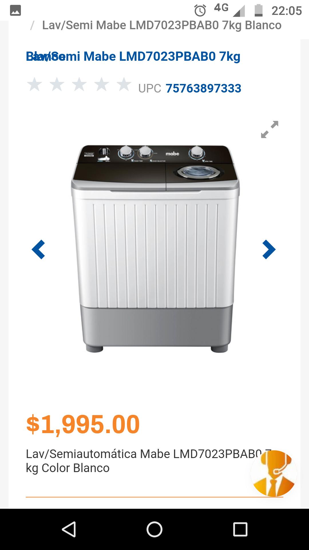 Chedraui en línea: Lavadora Semiautomática Mabe LMD7023PBAB0 7kg Blanca