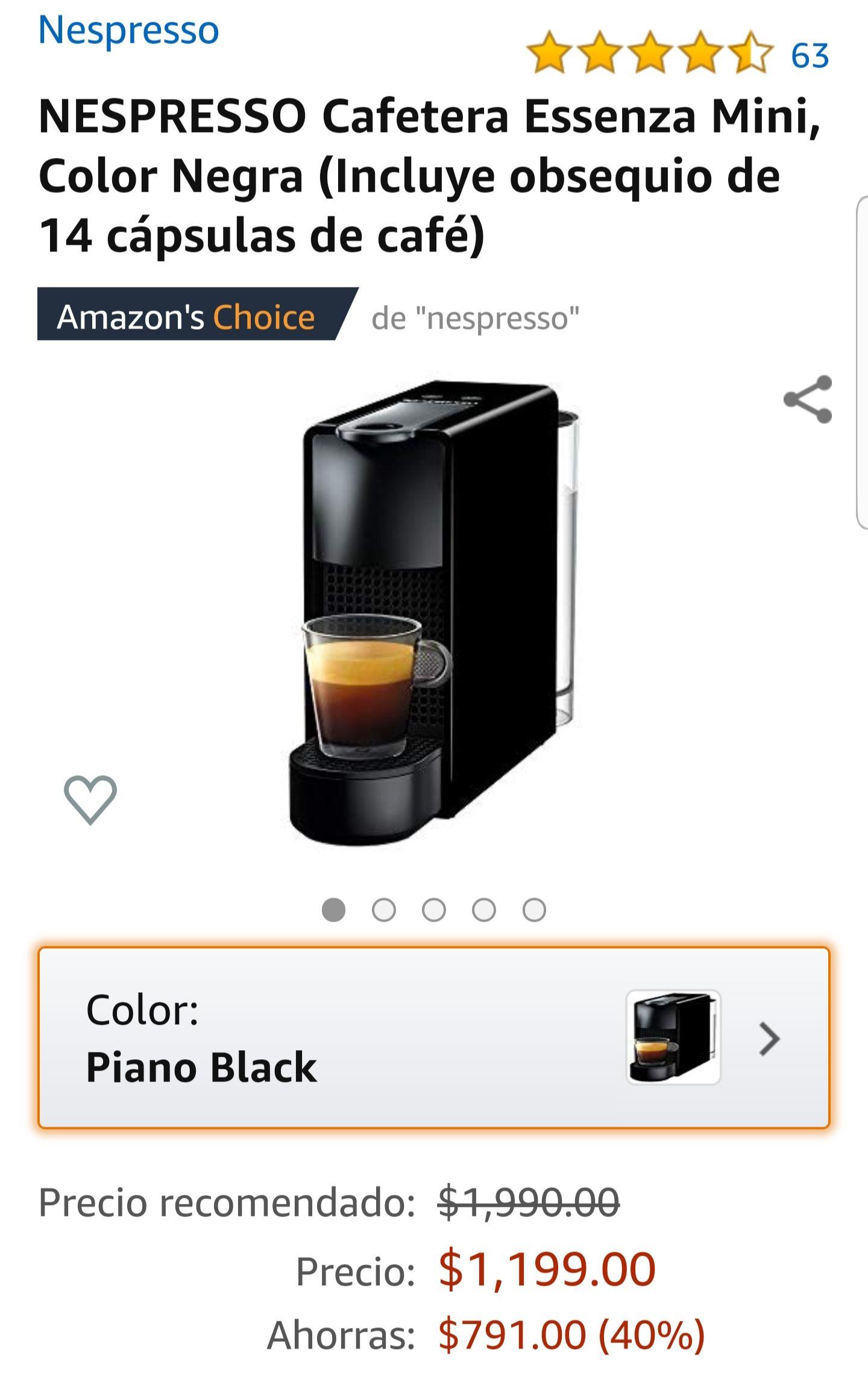 Amazon: NESPRESSO Cafetera Essenza Mini