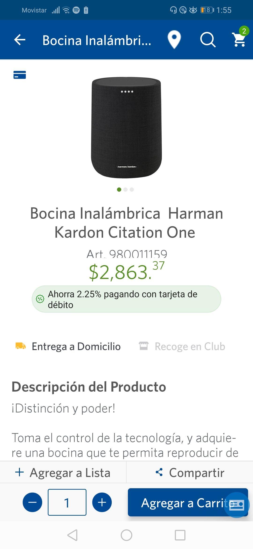 Sam's Club: Bocina Harman kardon Citation One (pagando con Citibanamex)