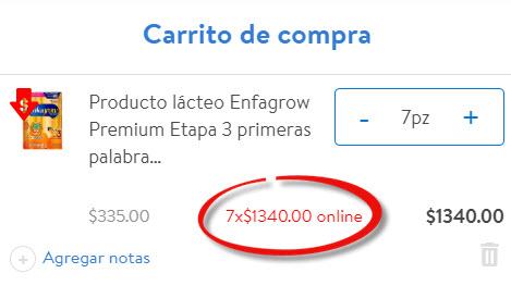Walmart en línea: 7 cajas de Enfagrow por $1,340