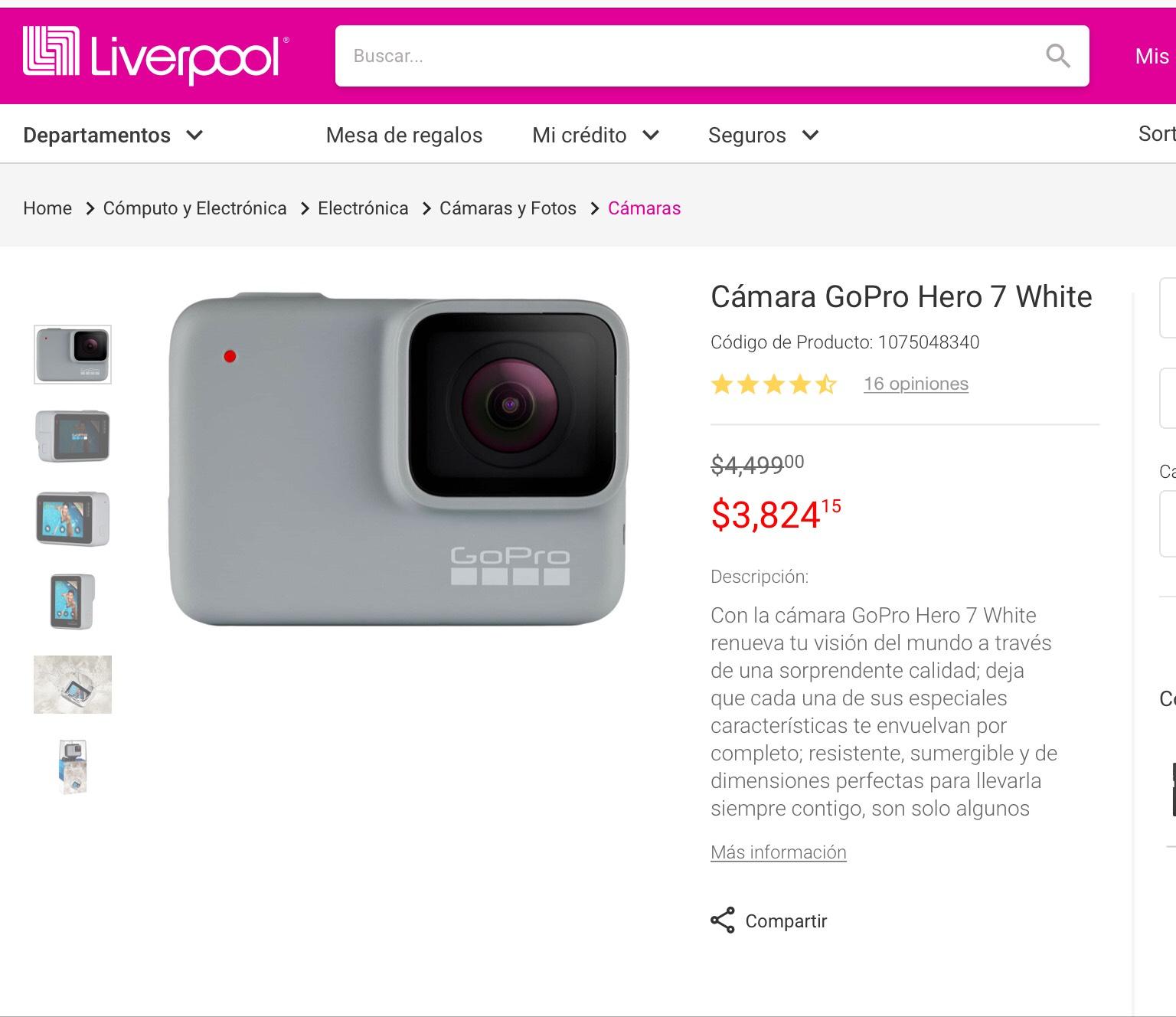 Liverpool en línea: GoPro (pagando con Paypal)