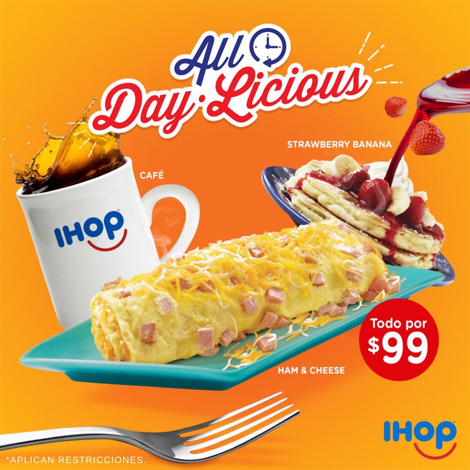 IHOP: Omelette + pancakes + refresco o café por $99 (Monerrey y Saltillo)