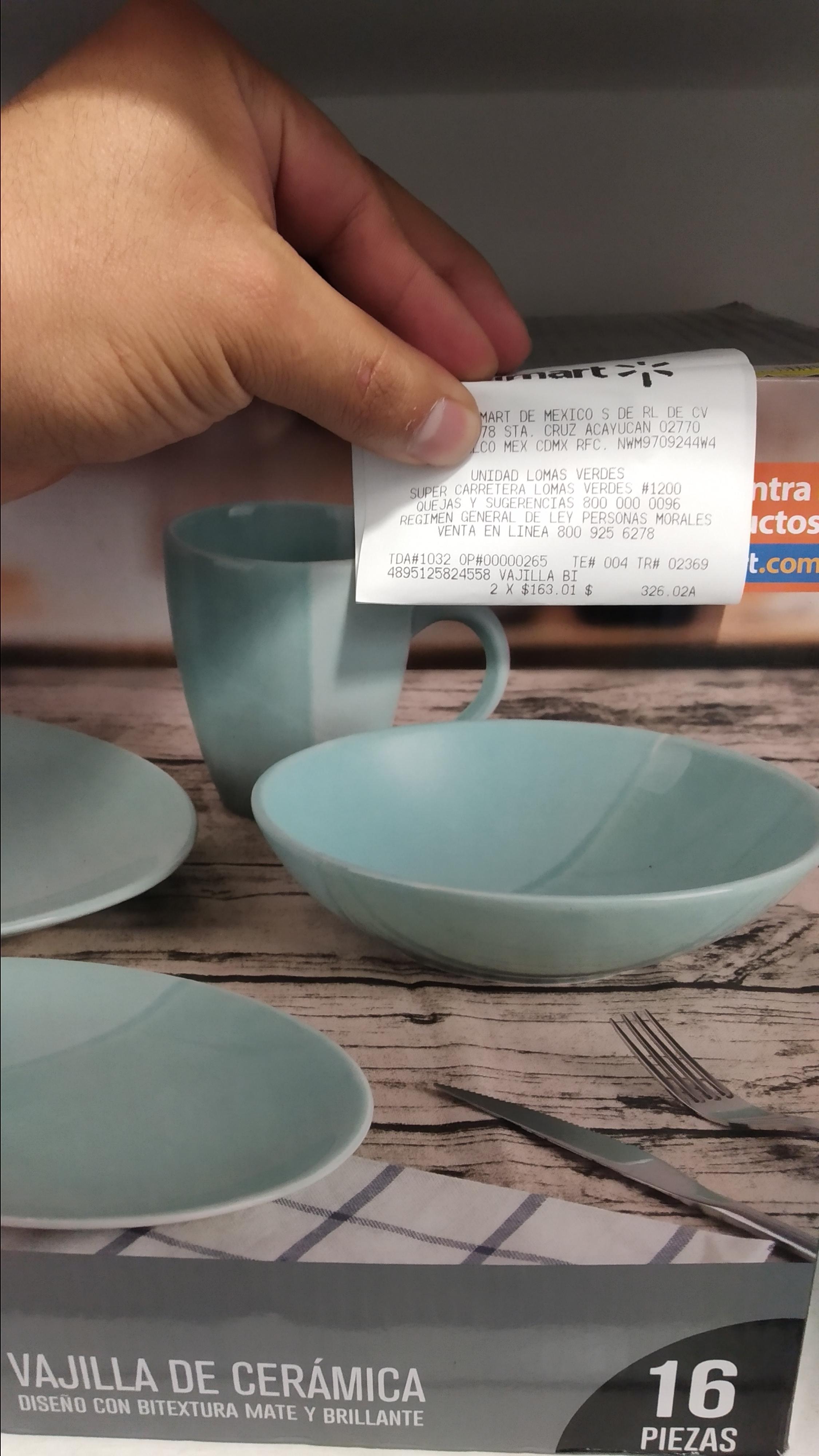 Walmart: Vajilla de ceramica 16pz