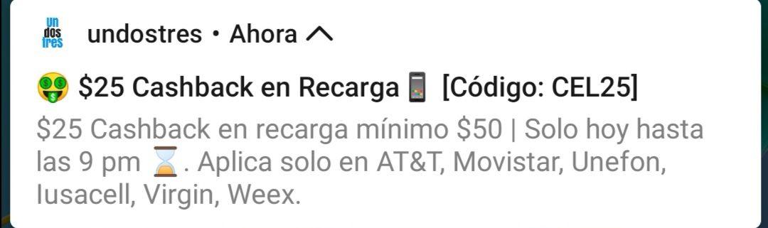UnDosTres - $25.00 cashback mínimo de compra $50.00