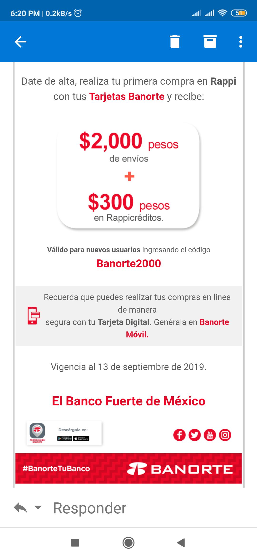 Rappi: $2000 en envíos + 300 rappicréditos en tu primera compra con Banorte