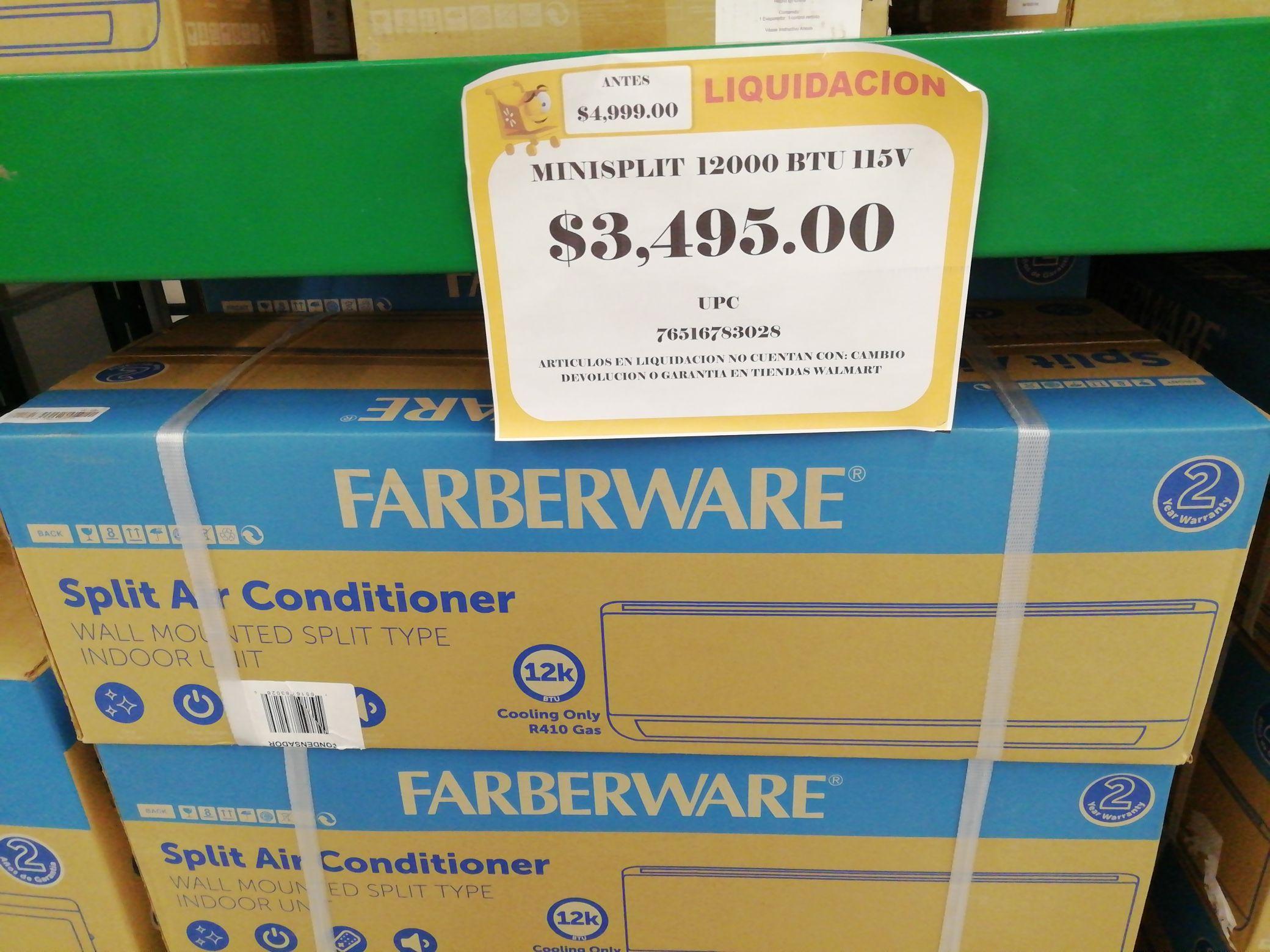 Walmart Uptown Mérida: aire acondicionado minisplit 12000 btus