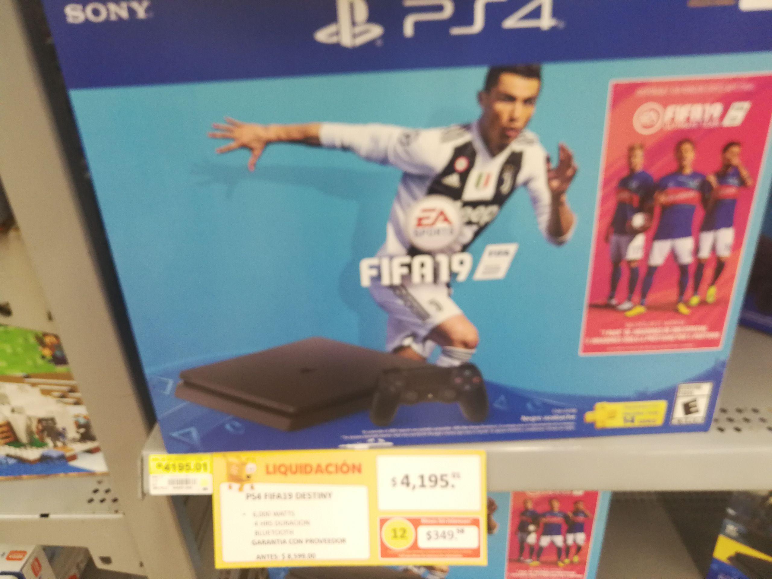 Walmart Carrizal Villahermosa: Consola PS4 Slim con FIFA 19 y Destiny