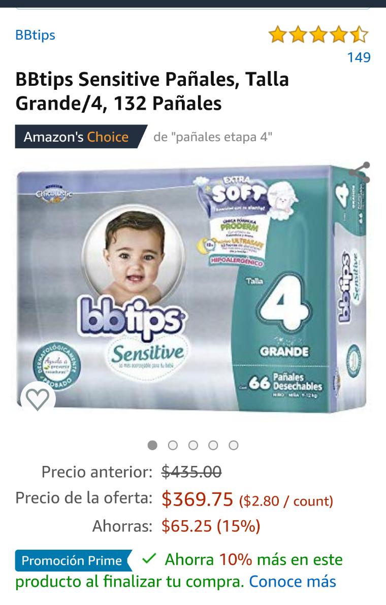 Amazon: Pañales BBtips 132 etapa 4 y 124 etapa 5 (2.44 con prime)
