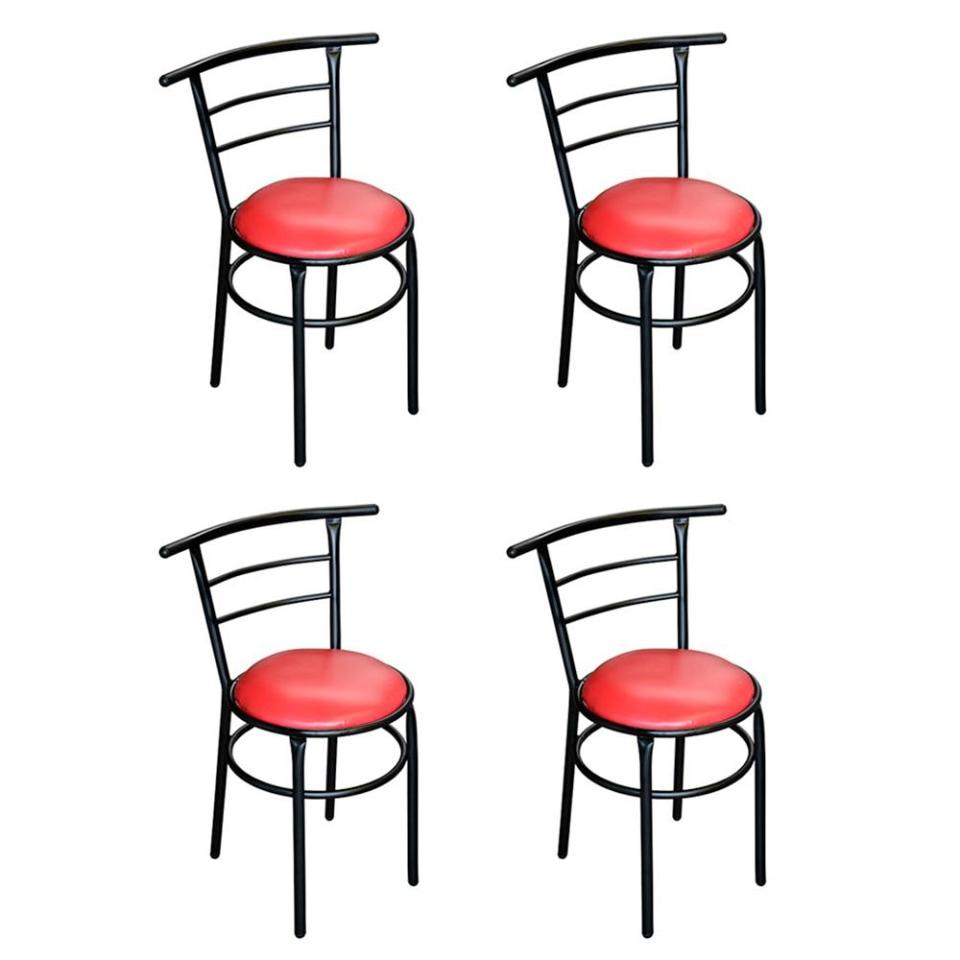 Walmart: Set 4 Sillas Chabely OIKO Muebles Tubular Negro Tapiz Rojo