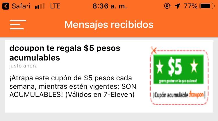Dcoupon App $5 para 7-Eleven