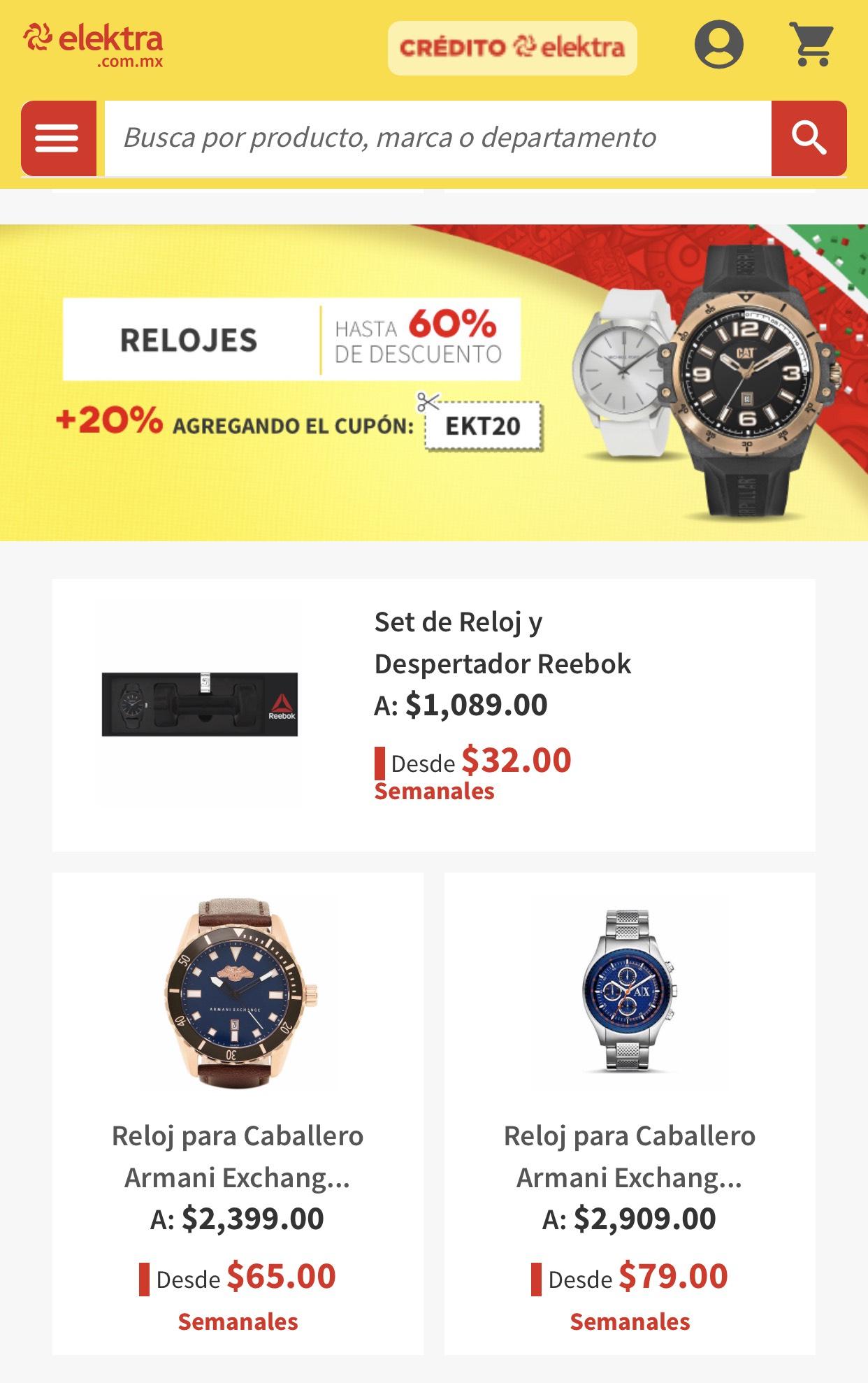 Elektra: Relojes hasta 60% de descuento + cupón del 20%
