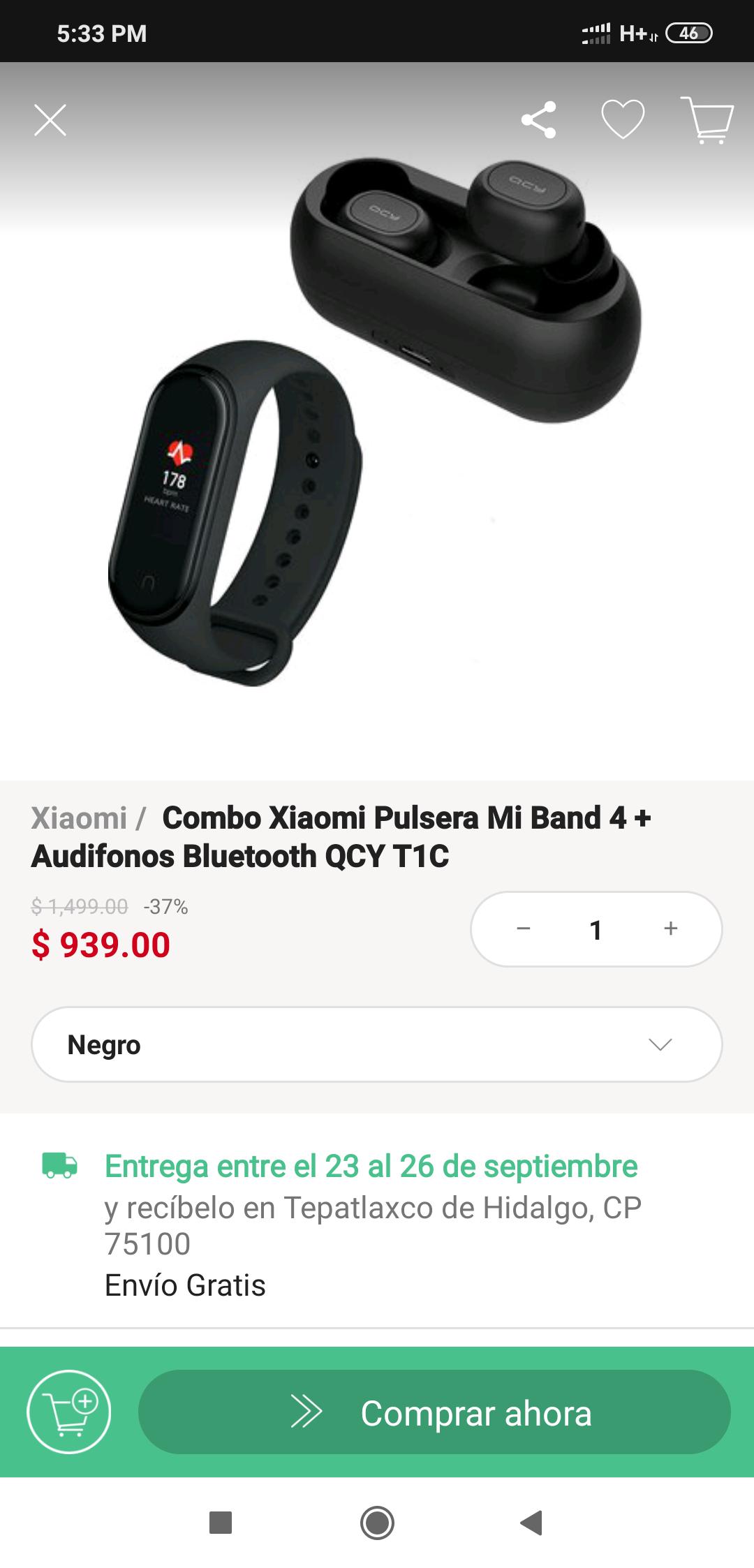 Linio: Combo Xiaomi Pulsera Mi Band 4 + Audifonos Bluetooth QCY T1C