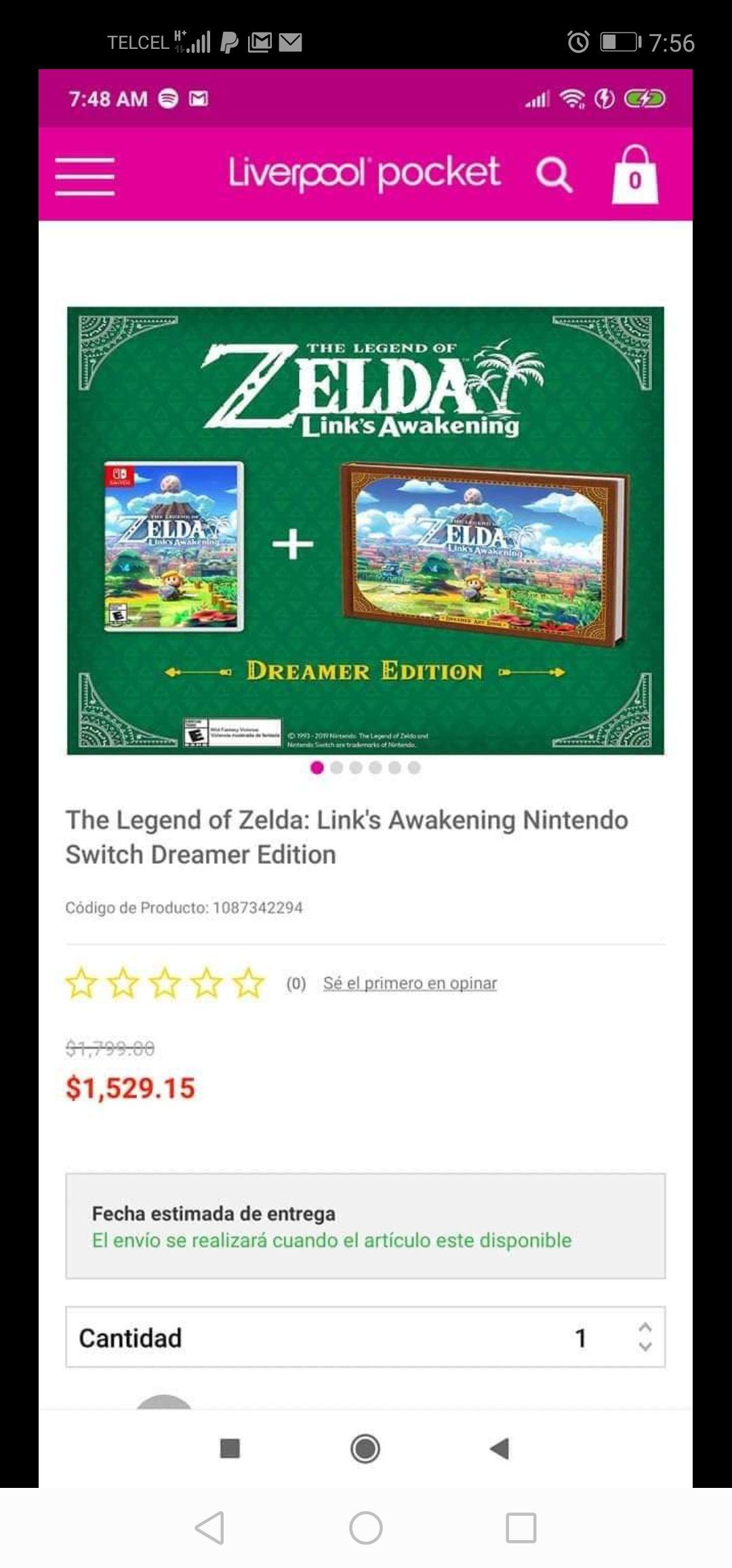 Liverpool: The Legend of Zelda: Link's Awakening Nintendo Switch Dreamer Edition