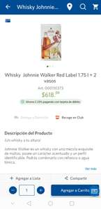 Sam's Club: Whisky Johnnie Walker Red Label 1.75L + 2 vasos
