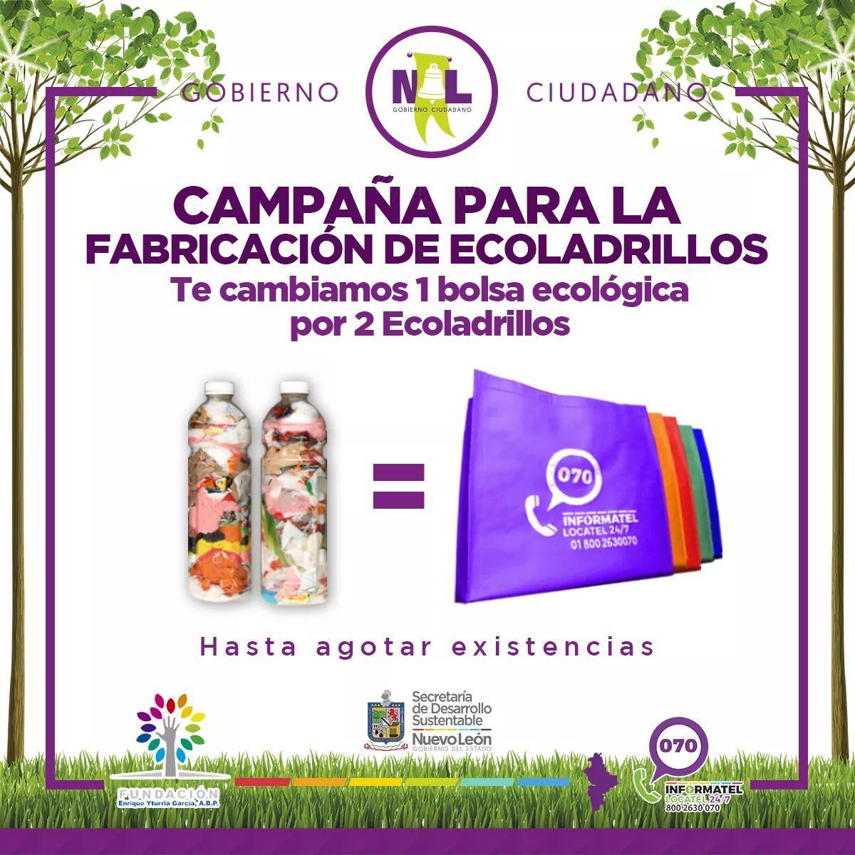 Monterrey: Cambia 2 ecoladrillos por 1 bolsa ecológica.