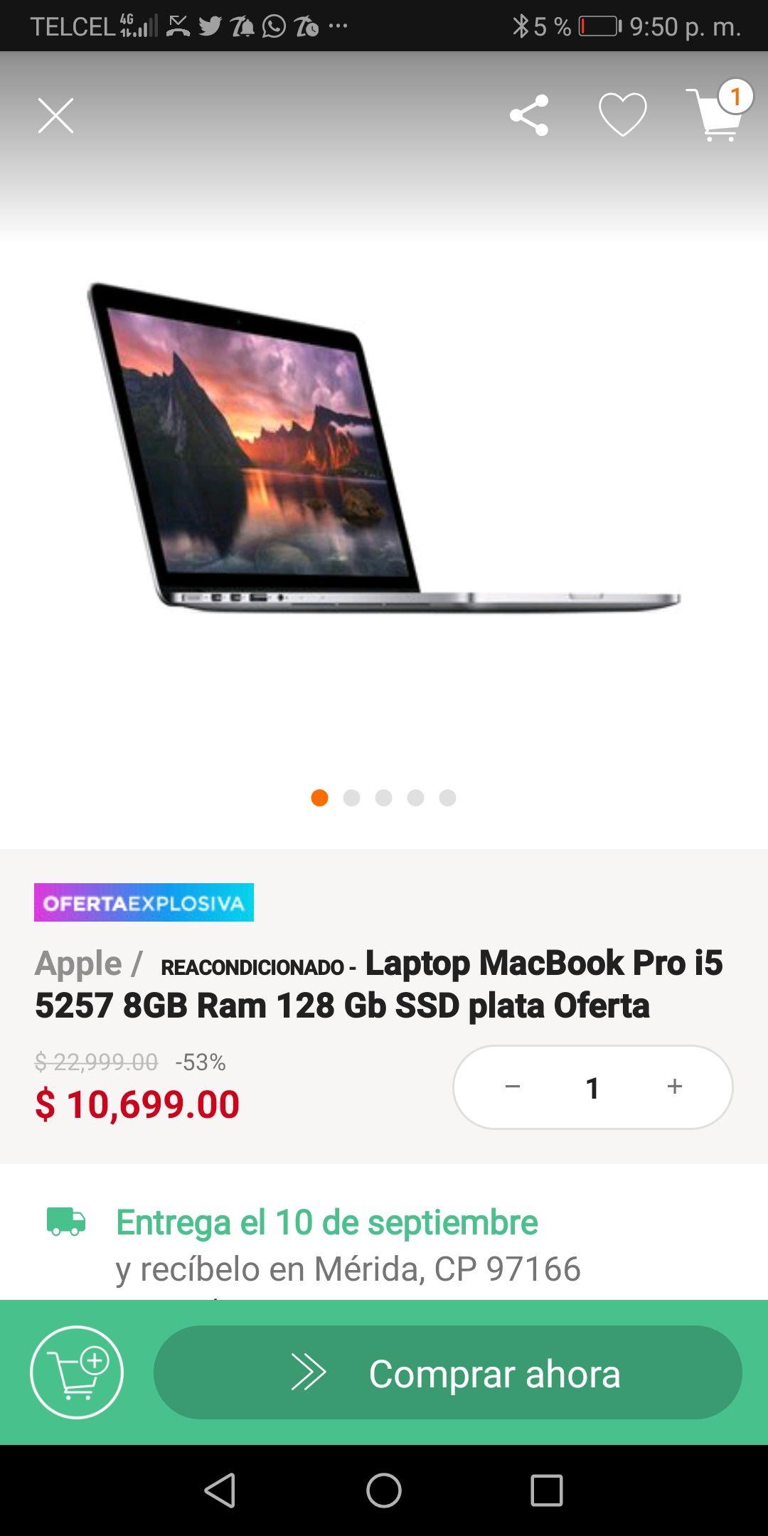Linio: MACBOOK PRO CORE I5 8GB RAM 128GB SSD (Pagando con Banorte a través de Paypal) (REACONDICIONADA)