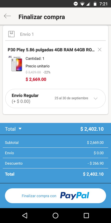 Linio: Moto P30 Play (pagando con PayPal)