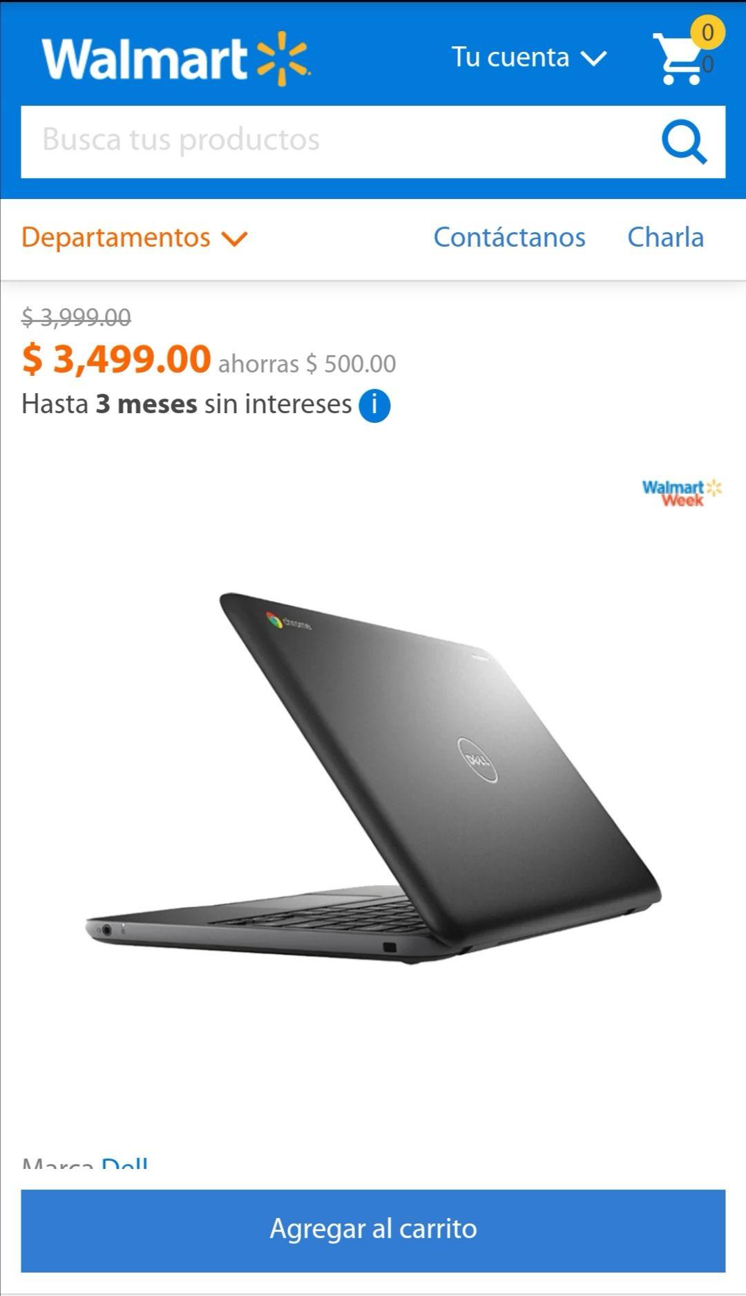 Walmart en línea: Chromebook Dell C871BLK Celeron Dual-Core 4GB RAM 16GB eMMC