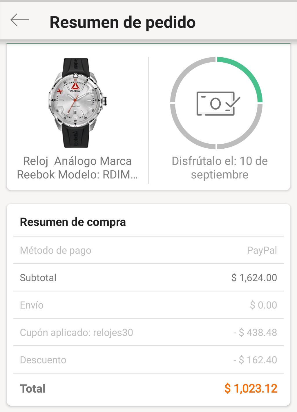 Linio: Reloj Reebok caballero (pagando con PayPal)