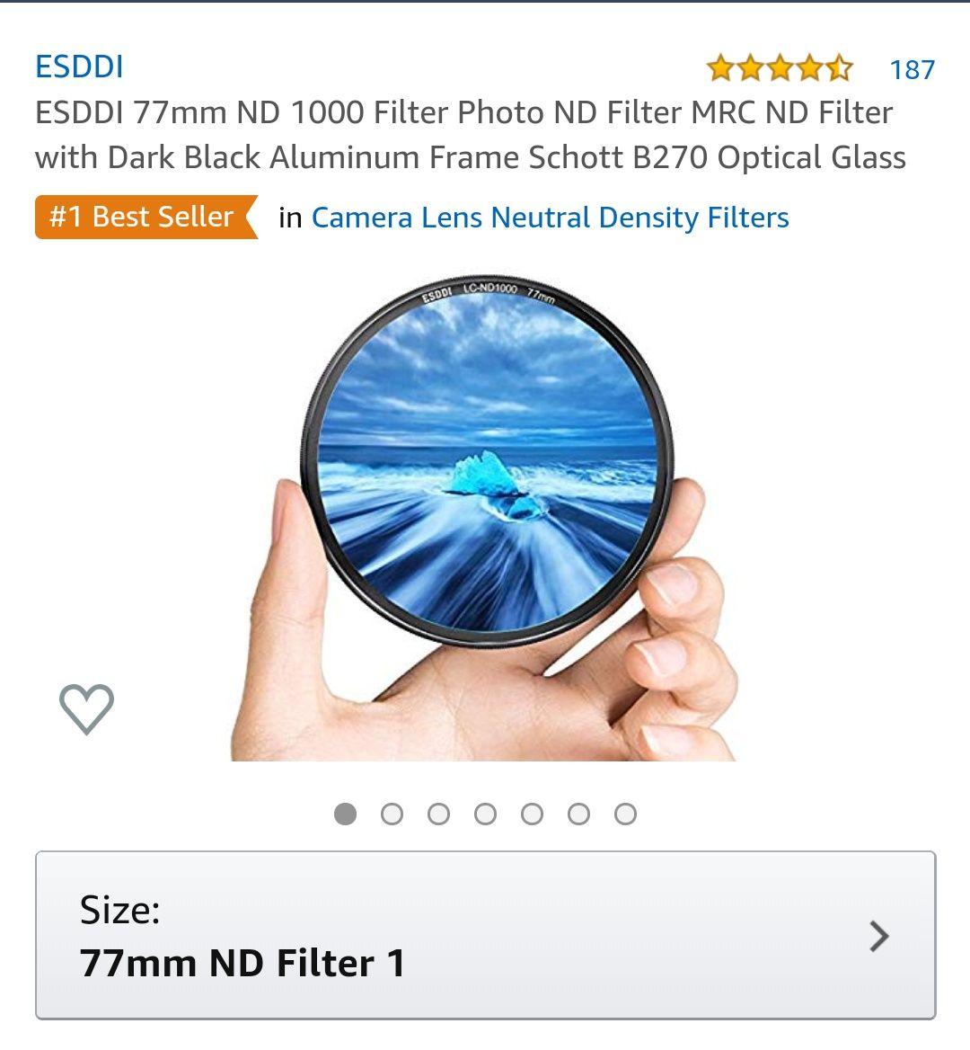 Amazon USA: Filtro ND 1000 para fotografía (58mm y 77mm)