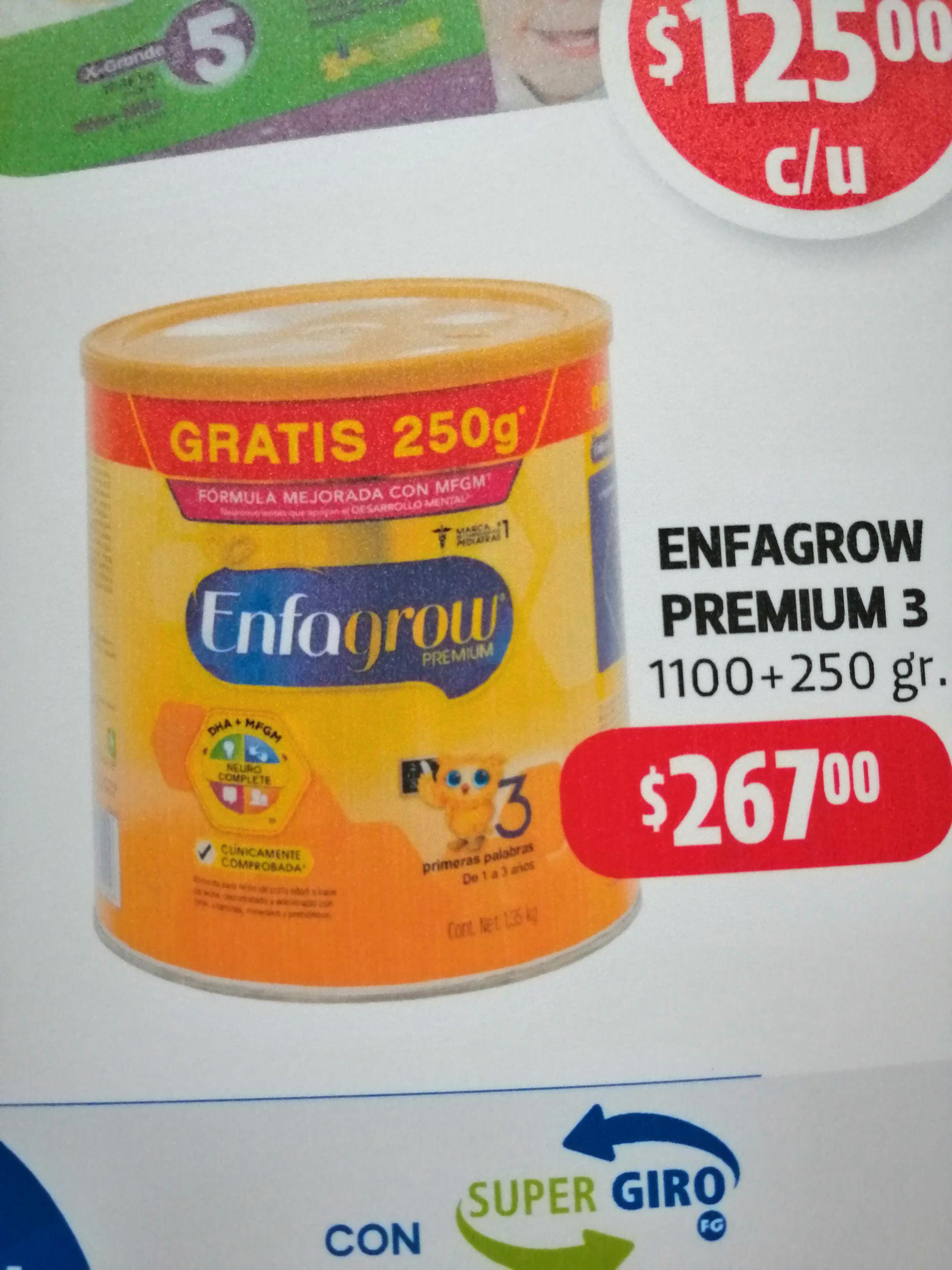 Farmacias Guadalajara: leche enfagrow 3 de 1350 gramos a $267