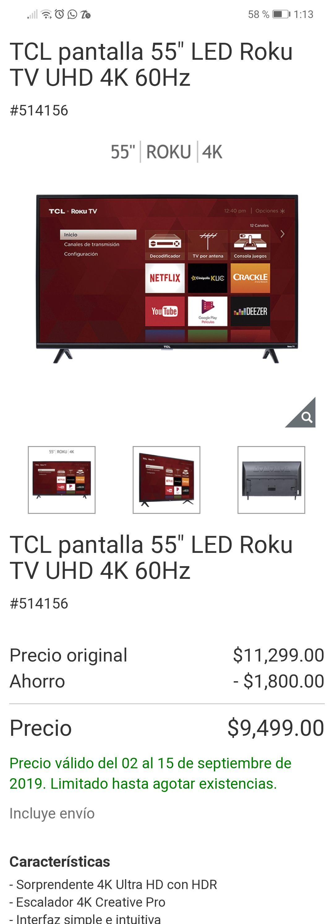 "Costco TCL pantalla 55"" LED Roku TV UHD 4K 60Hz y lámpara de mesa"