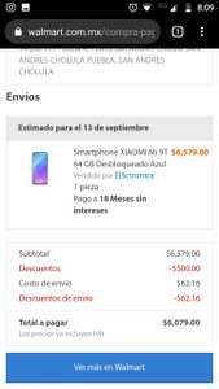 Walmart en línea: Xiaomi Mi 9T (pagando con BBVA)