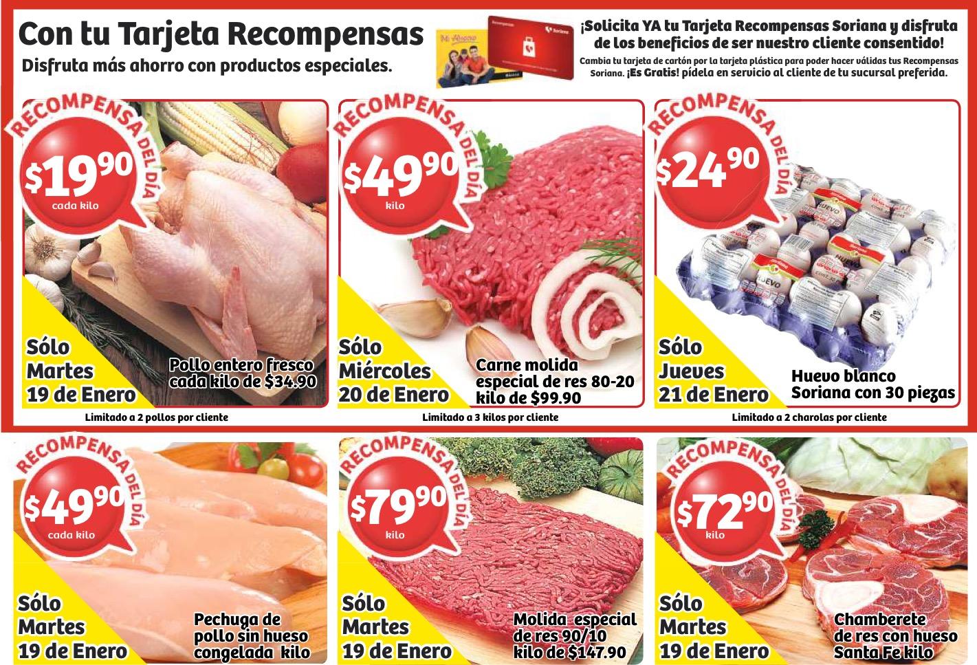 Soriana: ofertas de carnes, pollo y huevo del 19 al 21 de enero