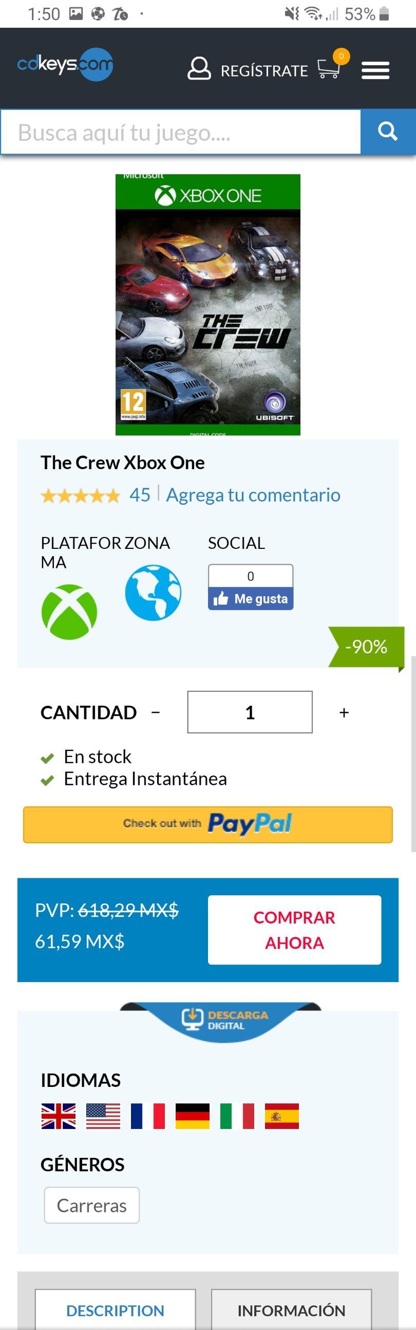 Cdkeys: The Crew Xbox One 61.59
