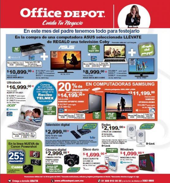 Folleto Office Depot junio 2013: pantalla LED gratis comprando computadora y más