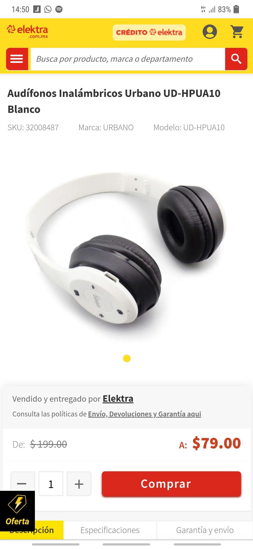 Elektra: Audífonos Bluetooth Urbano