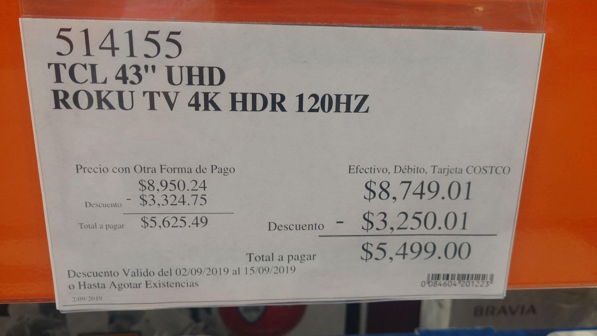 """Costco: Smart TV 4K TCL 43"""" con Roku"""