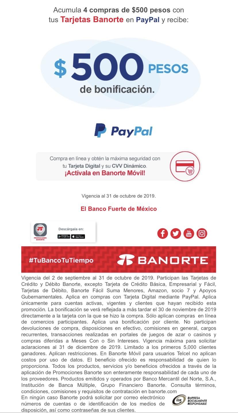 Banorte: $500 pesos de bonificación acumulando 4 compras de 500 en PayPal