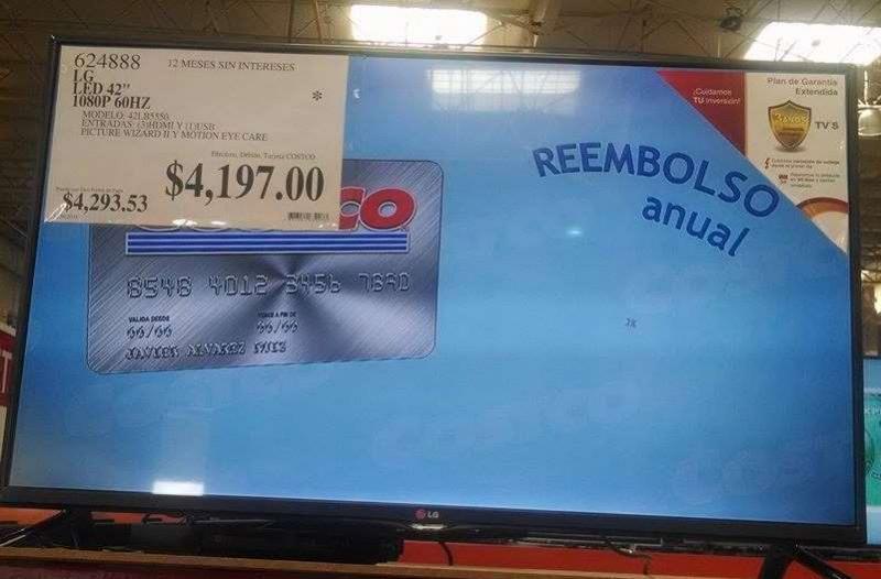 """Costco: pantalla LED LG de 42"""" $4,197"""
