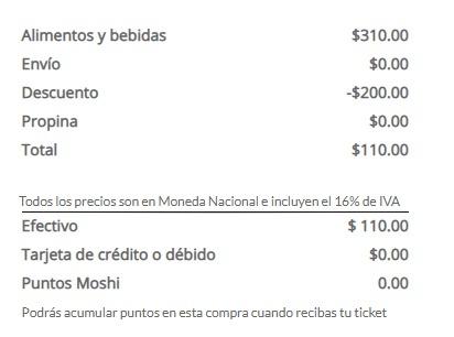 CUPÓN -$200 EN MOSHI MOSHI