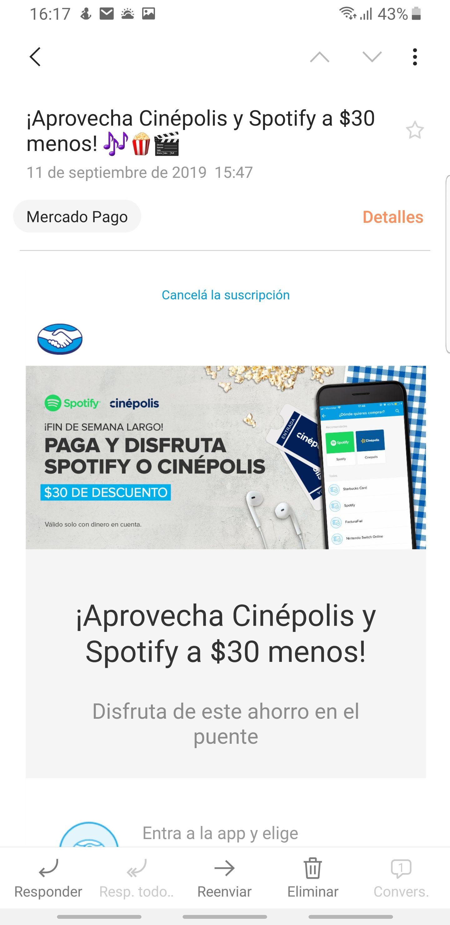 Mercado pago $30 de descuento en cinepolis y Spotify (usuarios seleccionados)