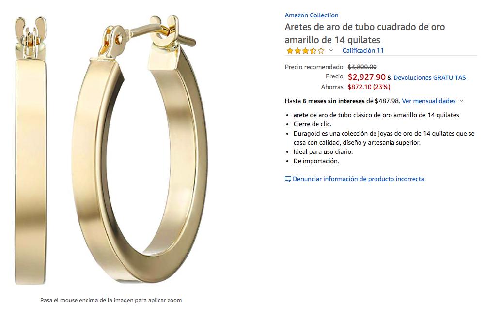 Amazon: Aretes de Oro 14 K