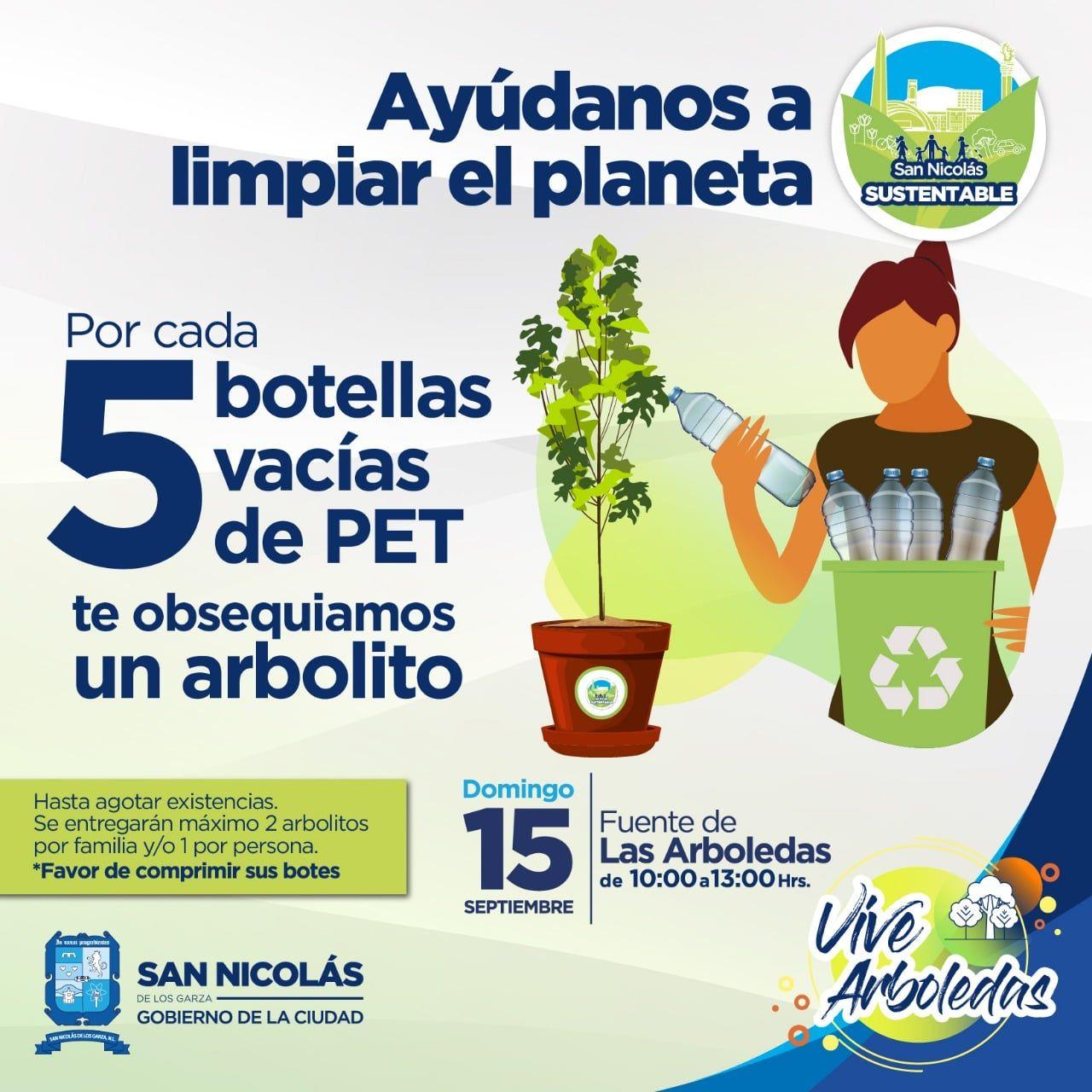 San Nicolás de los Garza Nuevo León: Cambia 5 botellas PET por un arbolito.