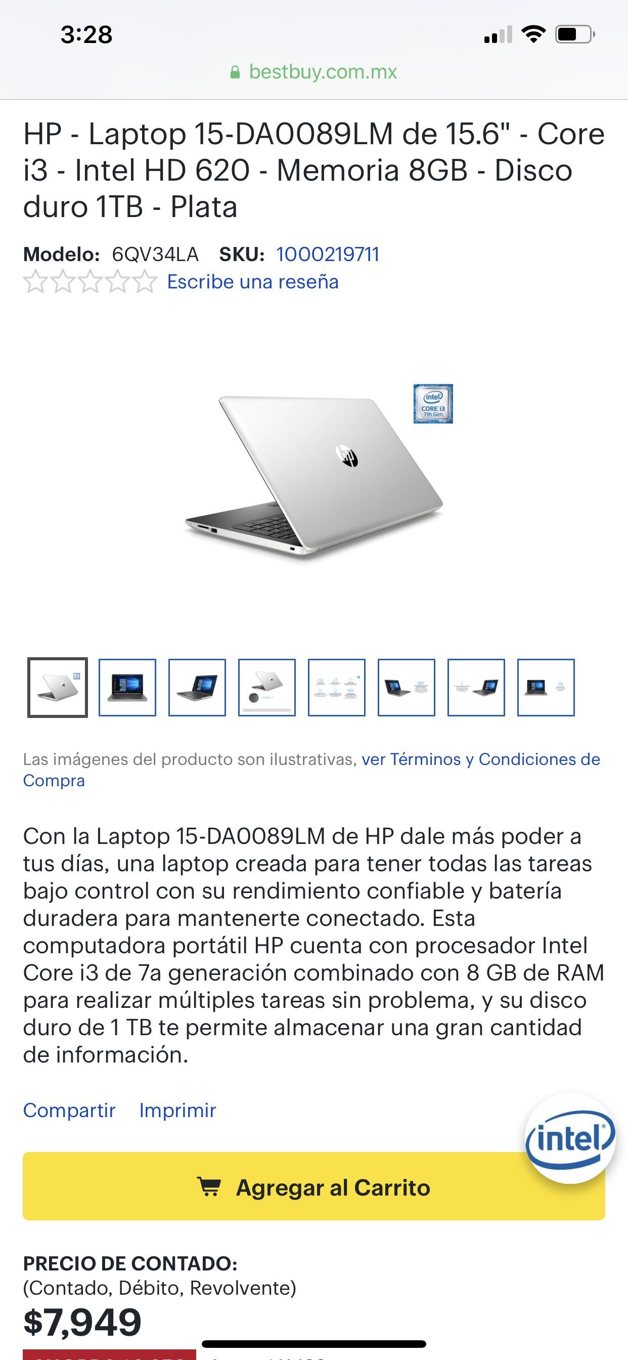 Best Buy Laptop hp procesador i3 8gb ram 1tb hdd a 24 msi con banamex