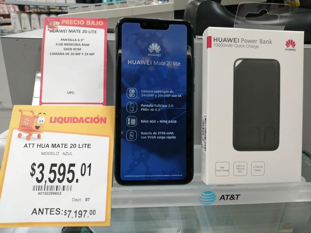 Walmart Campeche: Huawei mate 20 lite + power bank Huawei 10,000 mah