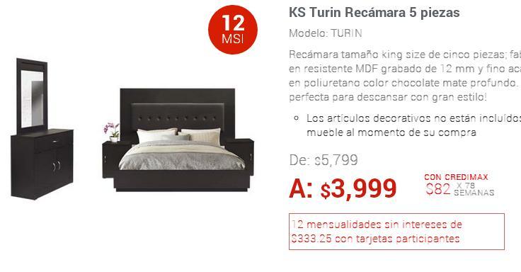 ELEKTRA ONLINE: KS Turin Recámara 5 piezas a $3,599 con cupón