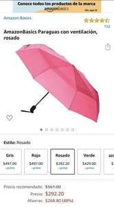 Amazon: Sombrilla con ventila AmazonBasics rosa