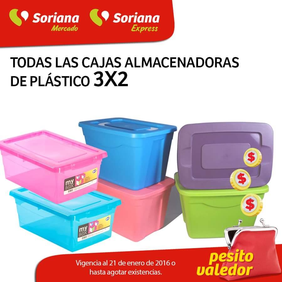 Soriana Mercado: Todas las cajas almacenadoras al 3x2