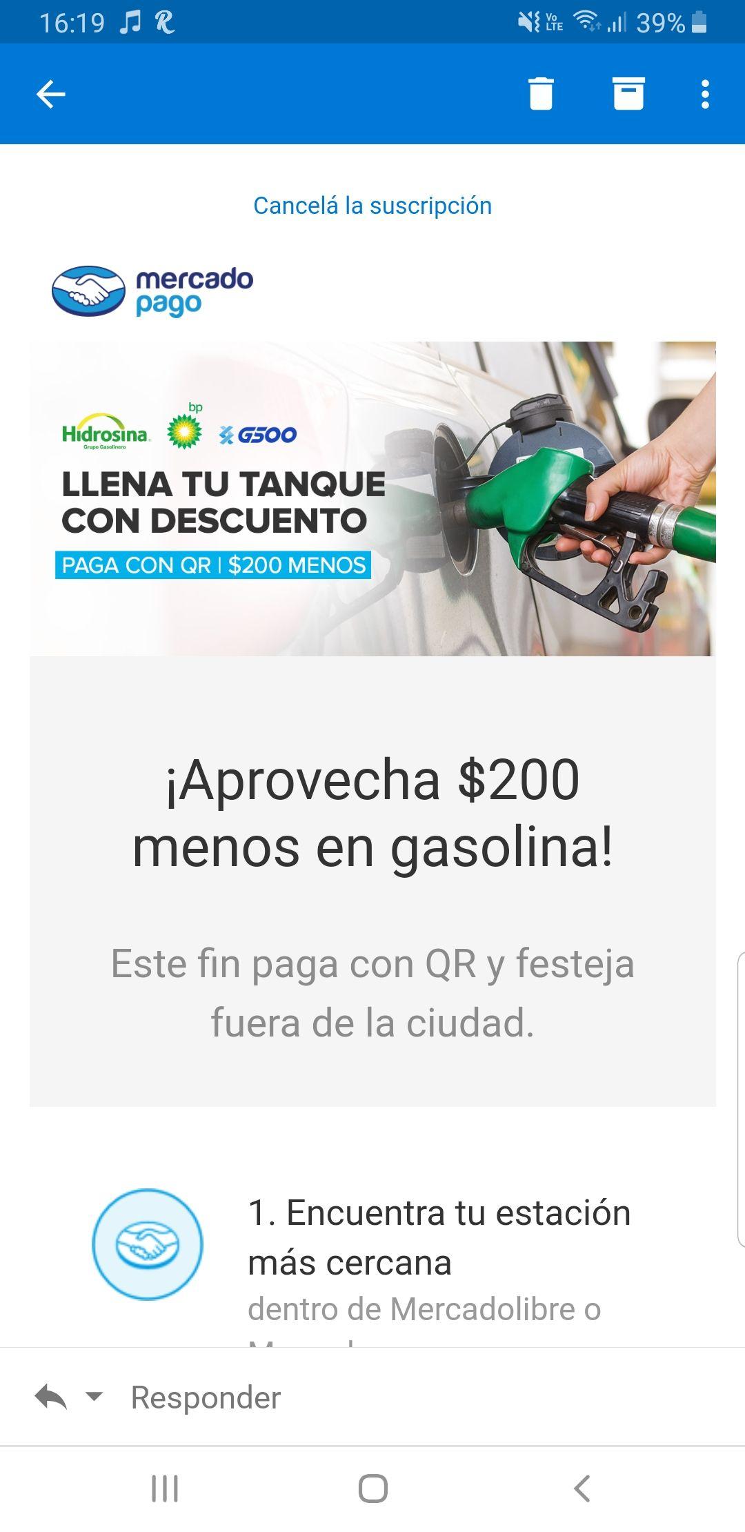 Mercado Pago (QR) $ 200 de descuento en gasolina.
