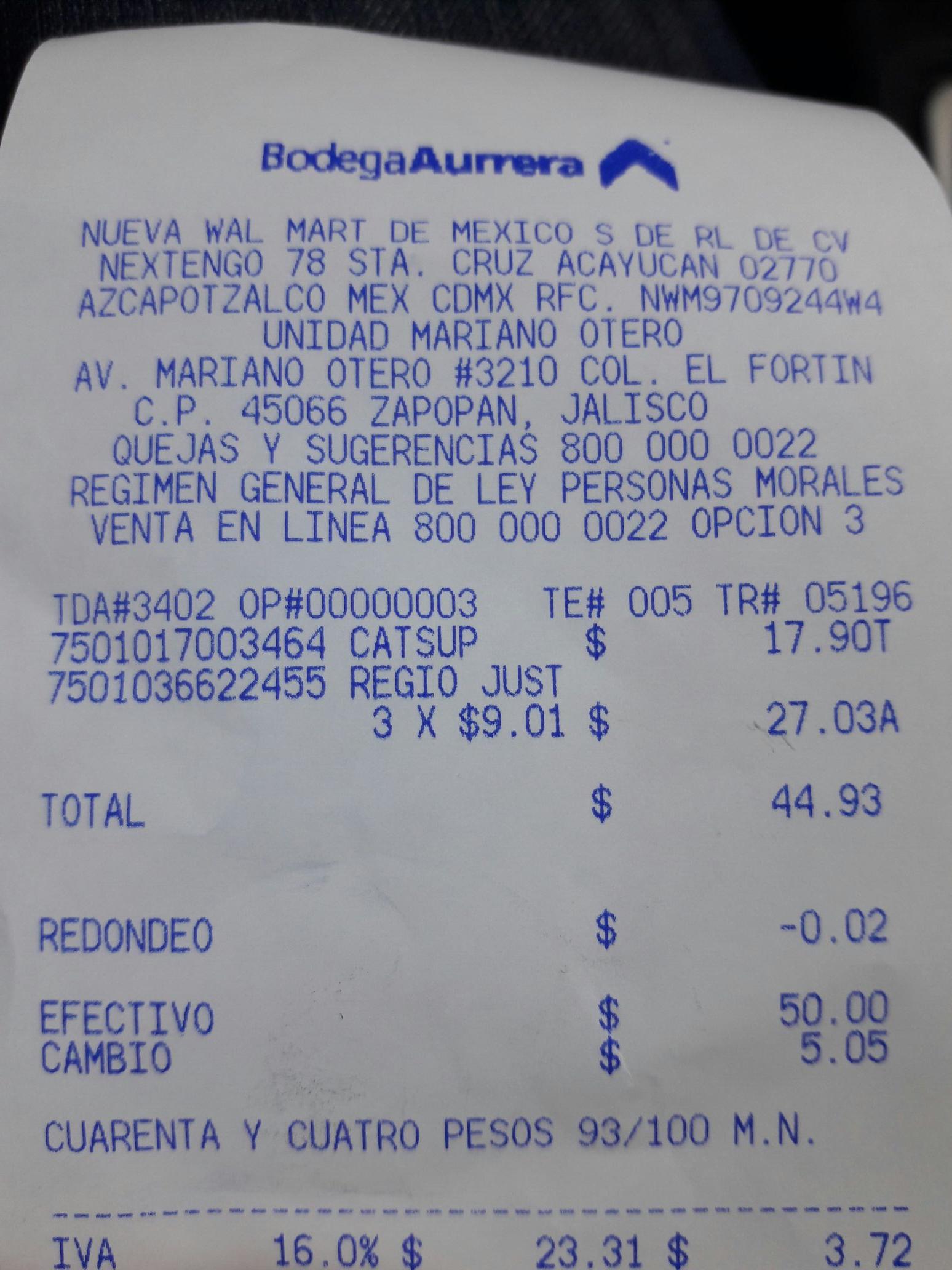 "Bodega Aurrera: Papel higiénico ""Regio Just-1"" 6 Rollos por $9.01"
