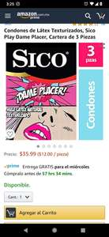 Amazon 3 Condones Sico Texturizados, incluye prime y envío