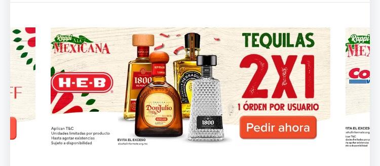 2x1 Tequilas HEB  por Rappi