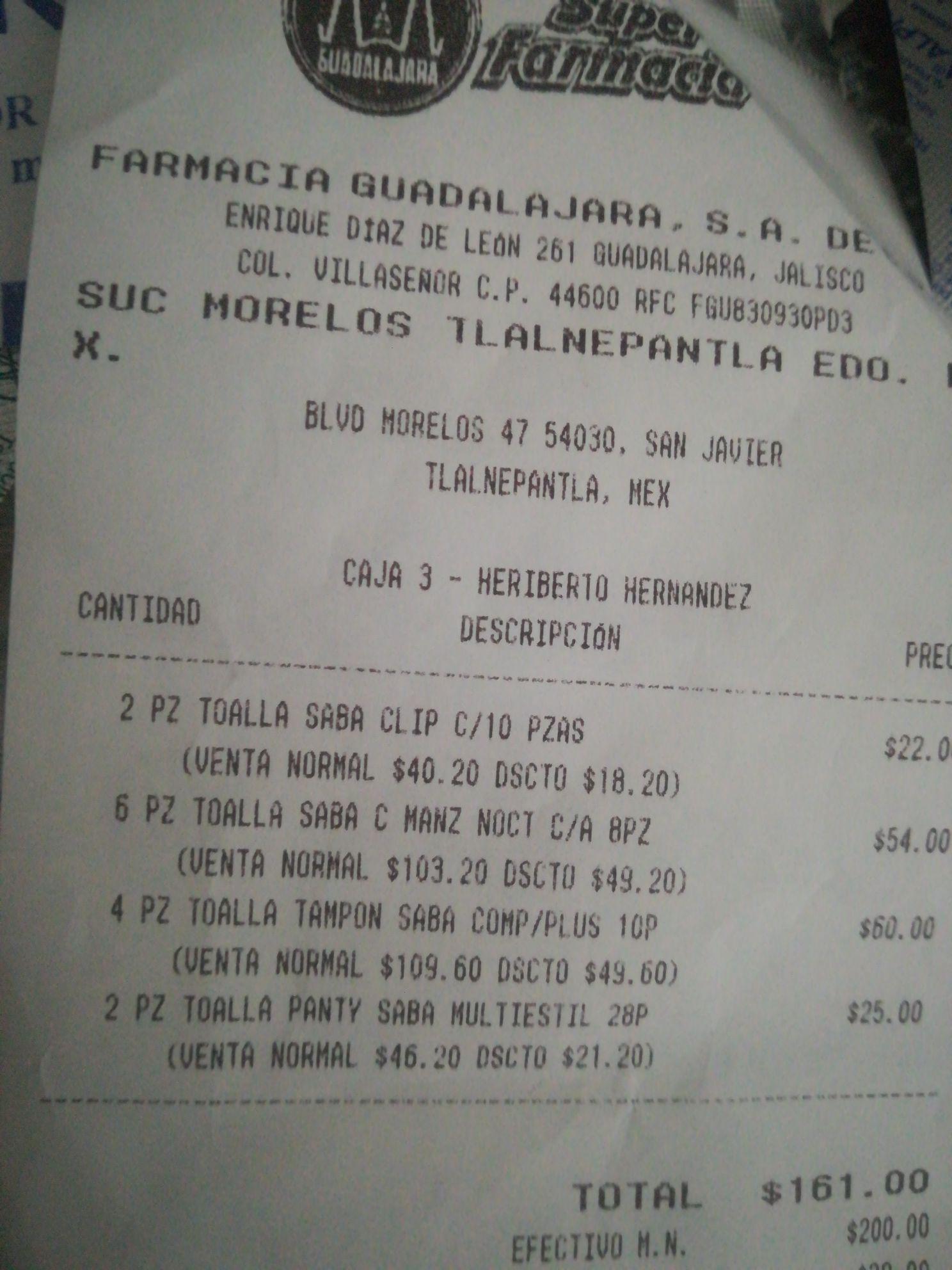 Farmacias Guadalajara: 45% de descuento en SABA