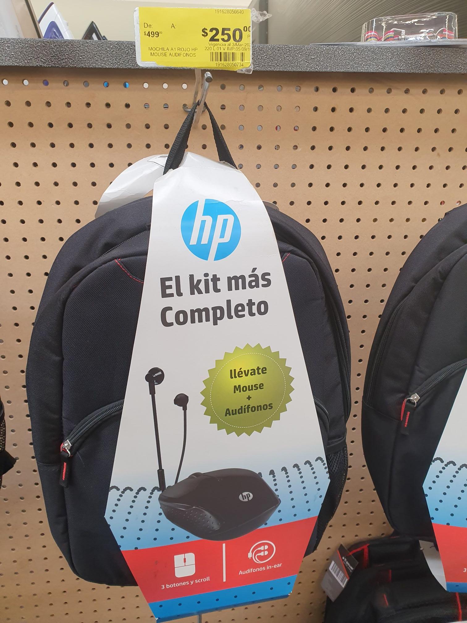 Soriana: Mochila HP con mouse inalámbrico y audífonos