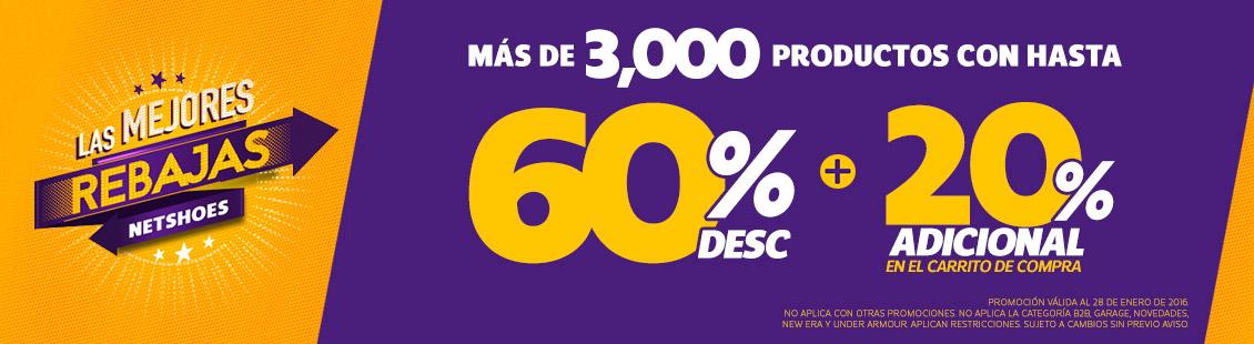 Netshoes: Hasta 60% de descuentos +  20% adicional